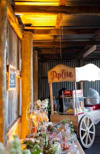 Popcorn Stall - Nicole & James' Wedding at The Barn The Briars